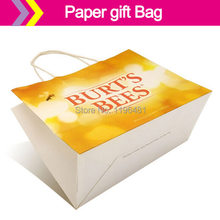 brown kraft paper bag / white paper shopping bag /small size pouches with handles(China)