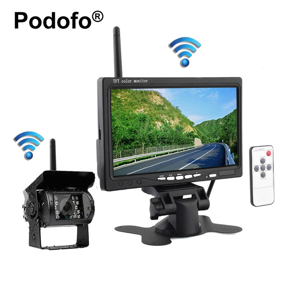 Podofo Wireless Truck Vehicle Backup Camera & 7 inch HD Monitor IR Night Vision Parking Assistance Waterproof Rear View Camera podofo wireless truck vehicle car rear view backup camera 7 hd monitor ir night vision parking assistance waterproof for rv rc
