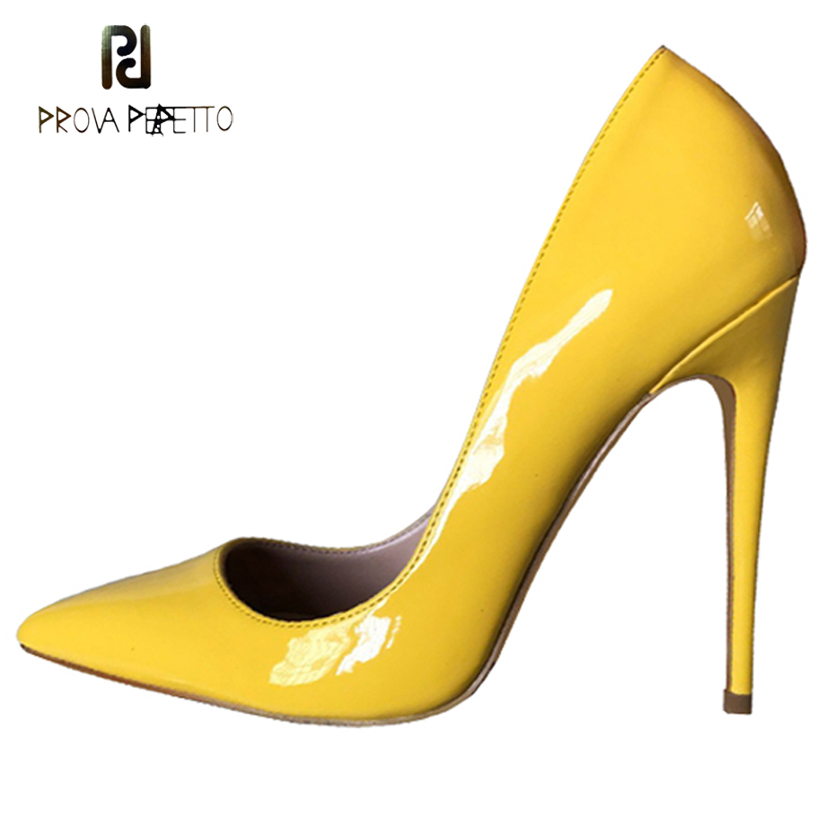 Prova Perfetto newest yellow patent leather high heel shoes for women sexy pointed  toe stiletto heel c8fe2f76921b