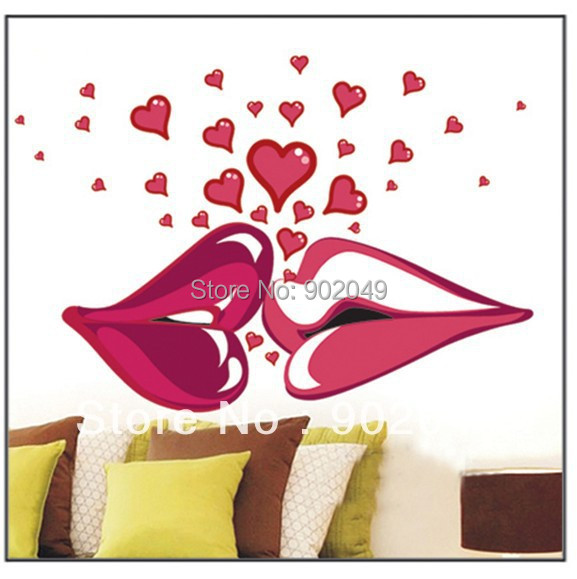 50x70cm Hot Sale decorative wall stickers Red lips love heart DIY wall decal free shipping KC-0065