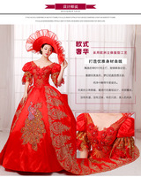 100%real red rhinestone peacock trailing court ball gown with hat medieval dress Renaissance Gown princess Victorian dress belle