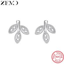 ZEMO Pendientes Plata De ley Sprout Shape Female Silver Earring 1 Pair Studs Earrings with AAA Zircon for Women Gift for Friends цена