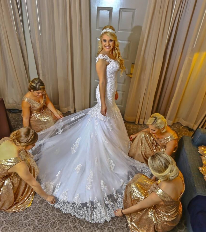 Lang Plus Größe Brautjungfernkleider Pailletten Champagne ...
