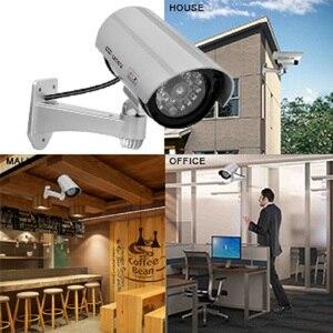 Image 4 - 2 adet kukla sahte kamera CCTV gözetim kamera dükkanı ev güvenlik LED ışık simülasyon kamera su geçirmez açık kamera