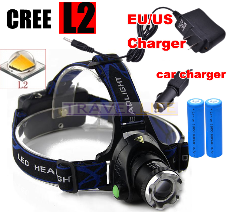 6000 Lumens Headlight T6 headlamp CREE XML-L2 zoomable LED Head Lamp Rechargeable led head light+2x 18650 +AC/Car charger купить