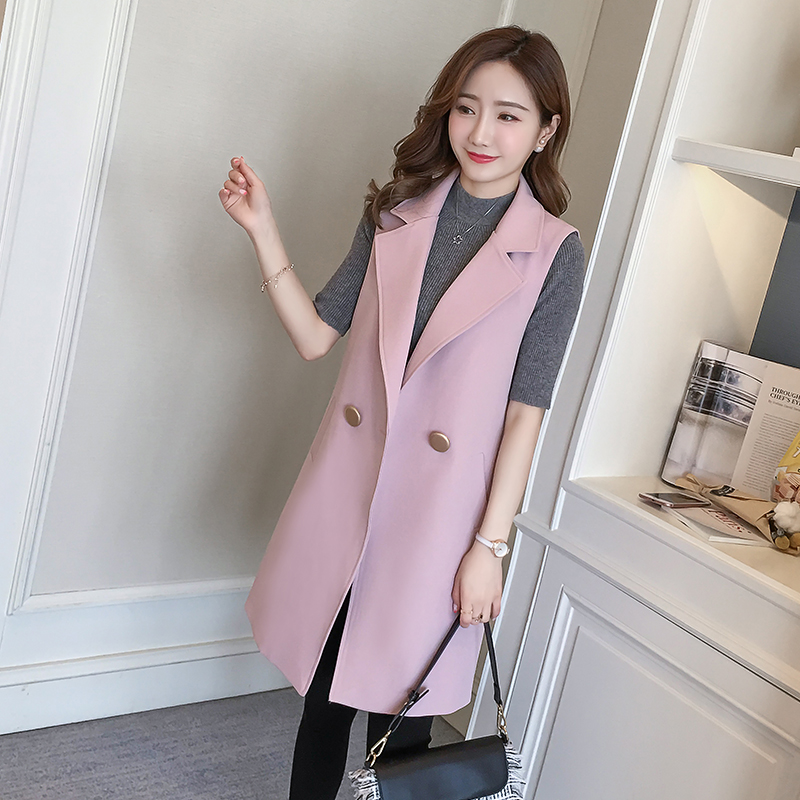 Good Quality Elegant Women Trench Vest Jacket Office Work 2018 New Casual Slim Blazer Sleeveless Lady Suit Vest Coat