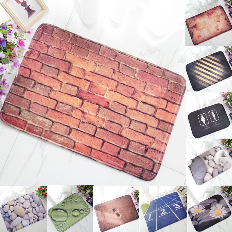 1pcs Brick Stone Pattern Anti-Slip Carpet 60*40cm Door mats doormats Outdoor Kitchen Bathroom Living room Floor Mat Rug 48054