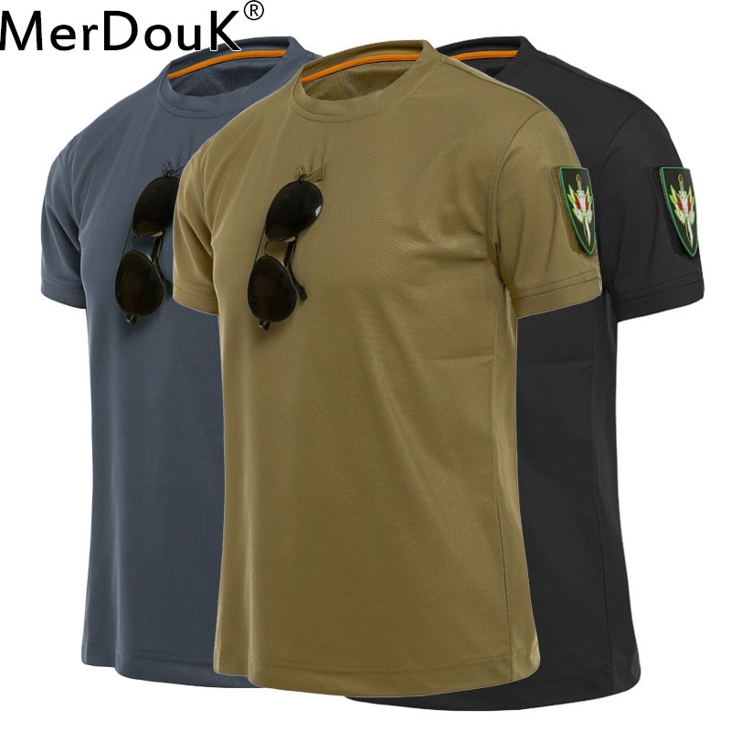 Men Tactical Tshirt Military Polyester Quick Drying   T  -  Shirts   Army Short Sleeve Wear Resistant Tee Soldier Breathable   T     Shirt