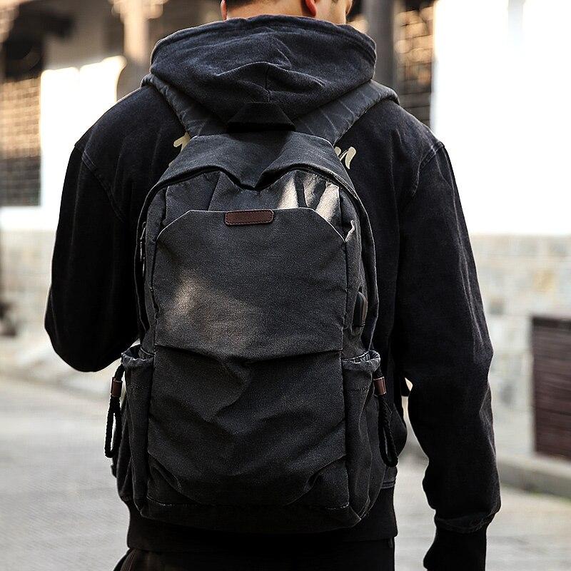 Muzee toile sac à dos pour hommes école USB Port de chargement voyage ordinateur portable collège étudiant sac à dos voyage sac à dos noir 1898