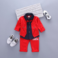 Hot Sales Infant Baby Boys Sets Red Plaid Long Sleeved Shirt Pants 2pcs Outfits Toddlers Bow