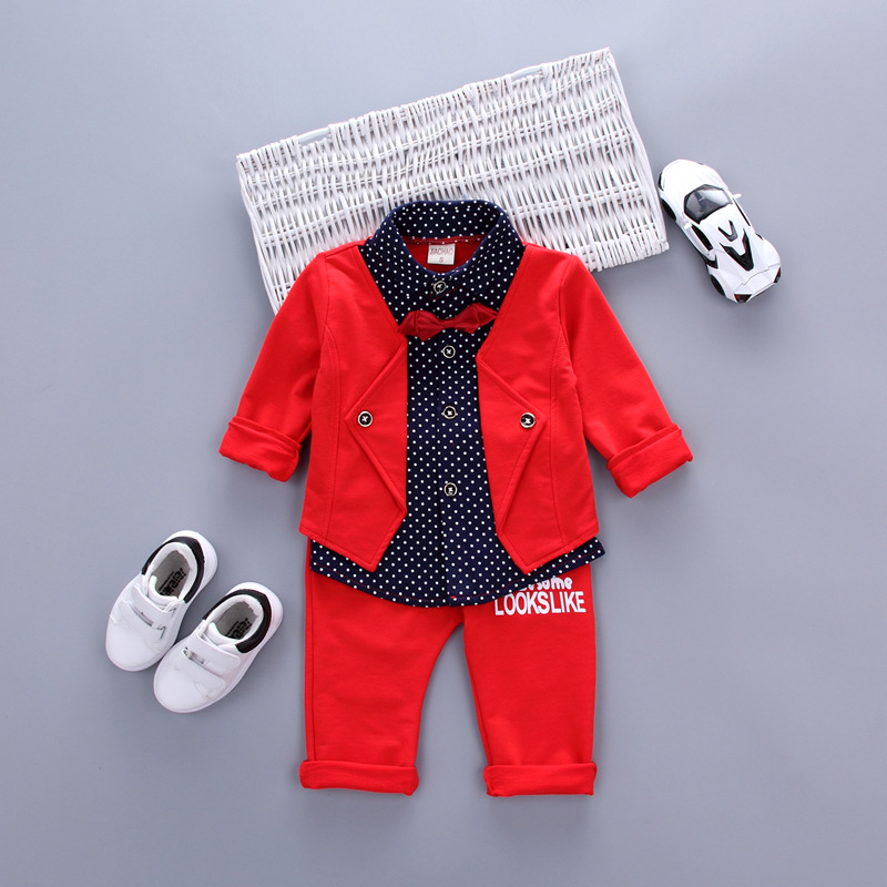 Hot Sales Baby Baby Jongens Sets Rode Plaid Lange mouwen + Broek 2 stks Outfits Peuters Vlinderdas Set Kleding 2017 Lente