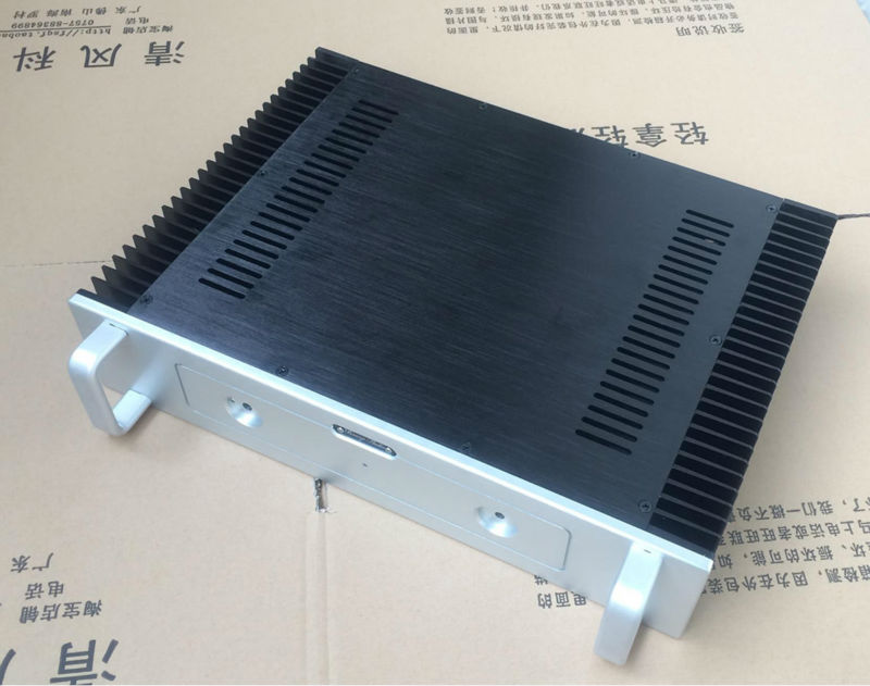 BZ4309 Aluminum power amplifier chassis Class A AMP box two heatsink With handle 430mm*90mm*308mm 1969 aluminum enclosure power amplifier chassis class a amp box dual heatsink