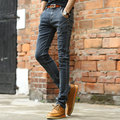 Masculino moda casual preto cinza denim jeans arranhado e lavado design elegante slim fit calças jeans de algodão para homens