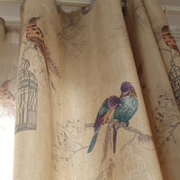 Linen Curtains American Rustic Style Curtains For Living Room Birds Printed Drapes Home Decor Light Yellow