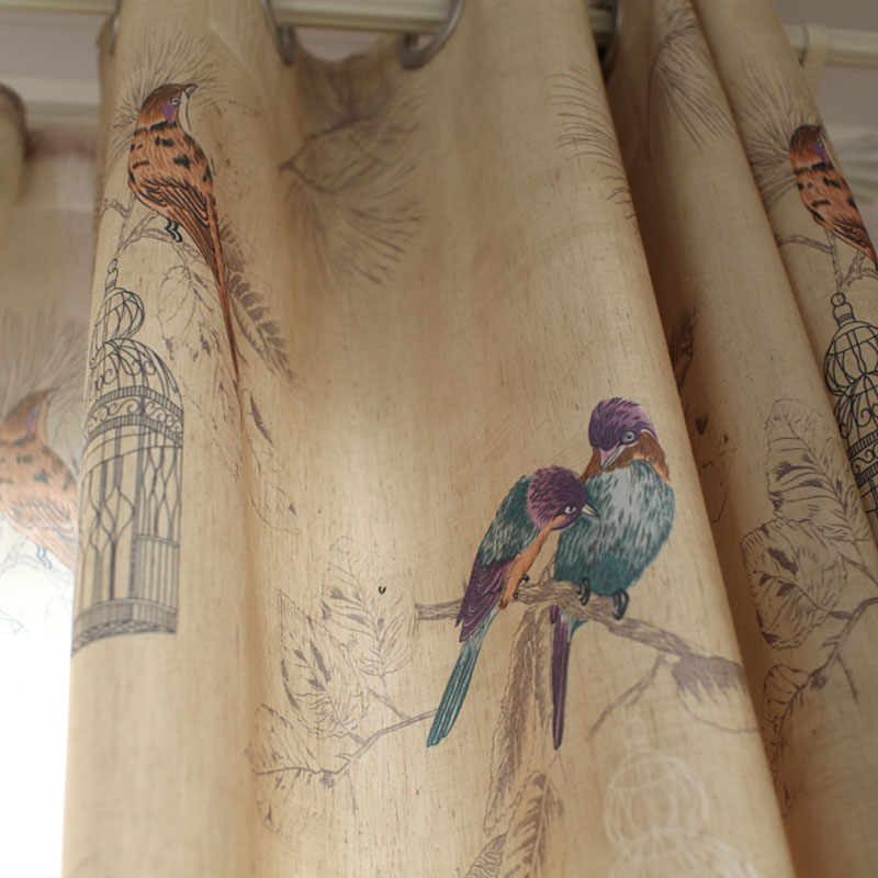 American Rustic Style Curtains For Living Room Birds