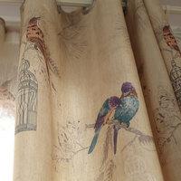 Americano estilo rústico cortinas para sala de estar pássaros impresso cortinas decoração casa linho cor janela cortina (único painel)