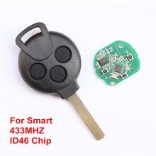 Автомобиль Дистанционного Ключа для Benz Smart 451 Ключ 3 Кнопки Дистанционного ключ 433 МГЦ с Электрическим ID 46 Чип нерасщепленной Ключевых Балде