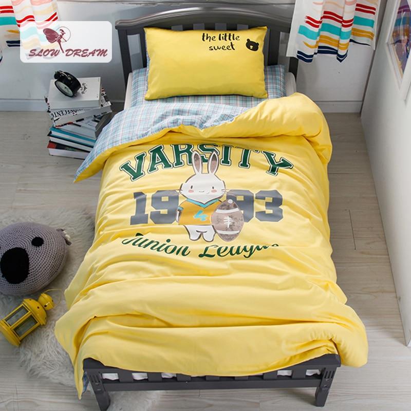 SlowDream Cute Football Baby Cartoon Yellow Bedding Set ...