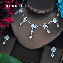 HIBRIDE Clear AAA Cubic Zirconia Jewelry Sets For Women Fashion Necklace Set Wedding Dress Accessories Wholesale Price N-448