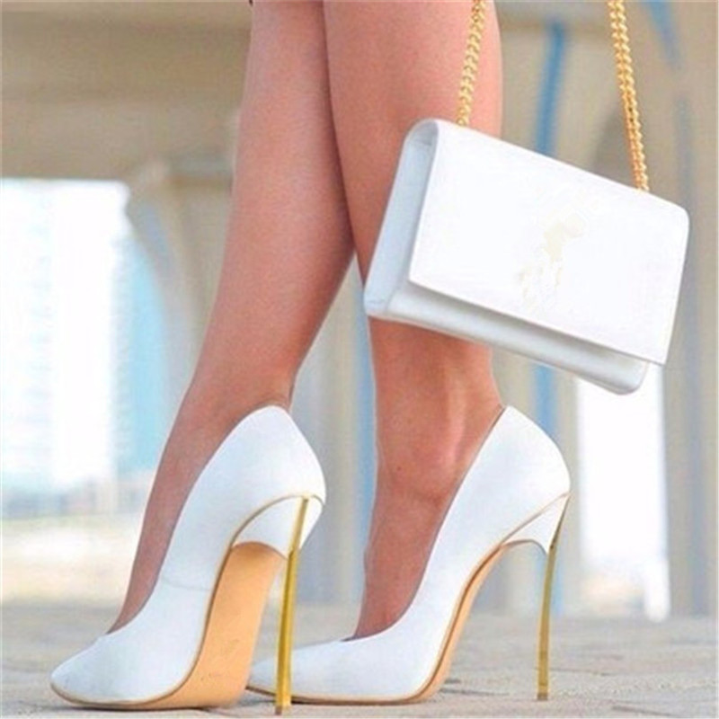 2017 New Spring Summer Shoes Woman Tenis Feminino Sexy Super High Heels Women Shallow Thin High Pointed Toe Slip-On Women Pumps spring autumn shoes woman pointed toe metal buckle shallow 11 plus size thick heels shoes sexy career super high heel shoes