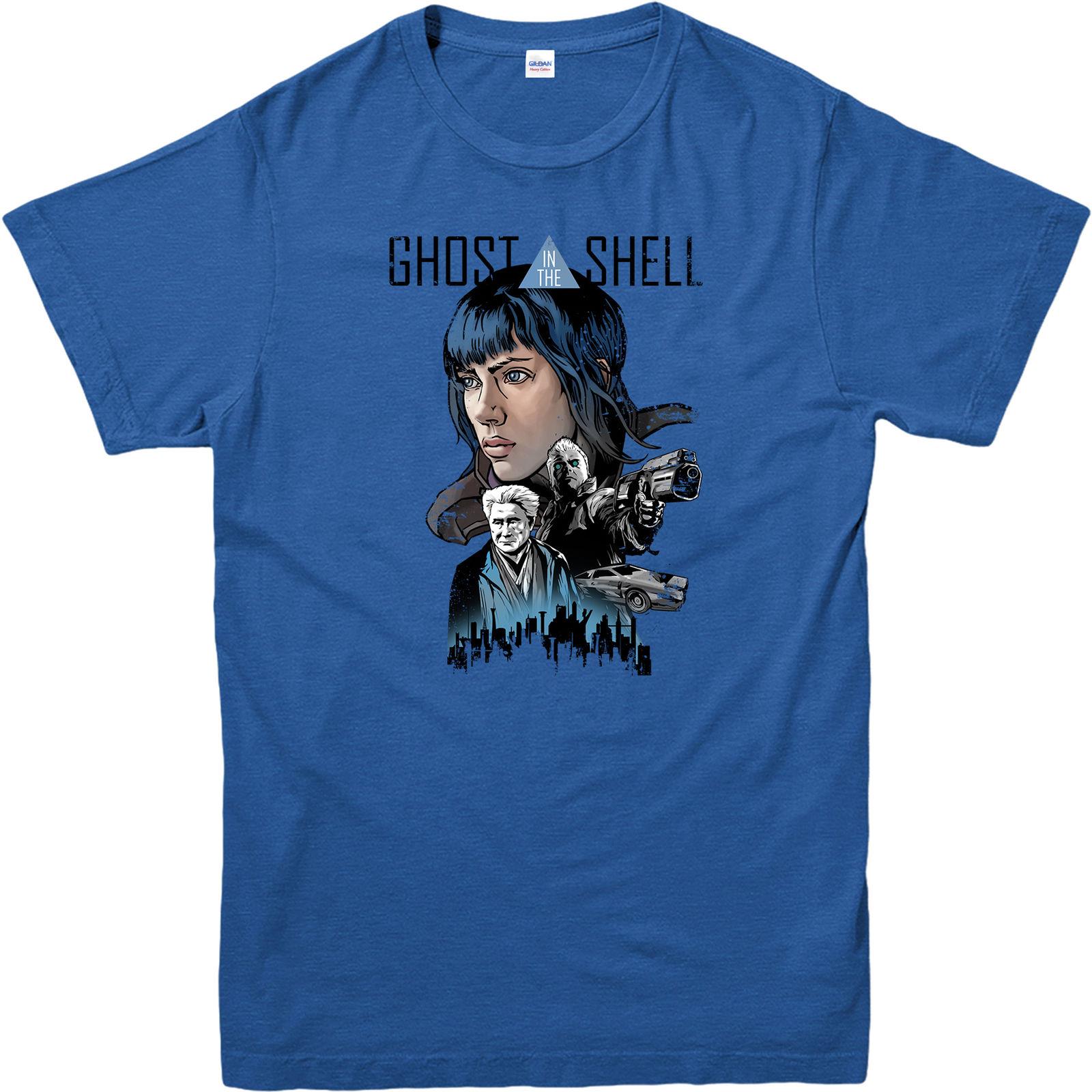 2019 Neueste Brief Drucken Ghost In The Shell Stadt Shkline T-shirt, Manga Anime Japanischen Sci Fi Matrix Top T-shirt Casual Mann Tees Tropf-Trocken