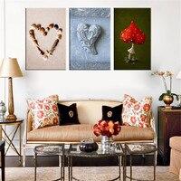 Herzform Shell Wandbilder Moderne Leinwand Malerei Roten Pilz Stillleben Malerei Einzigartige Git Für Hochzeit Raumdekoration