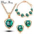Magia Ikery Nova Chegada Banhado A Ouro de Cristal Coração Conjuntos de Jóias Traje Moda para As Mulheres Colar Brincos Conjuntos MKL1331