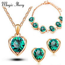 Magic Ikery New Arrival  Gold  Color Crystal Heart Fashion Costume Jewelry Sets for Women Necklace Earrings Sets MKL1331