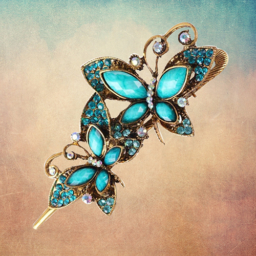 Women Retro Peacock Flower Butterfly Bowknot Hairpin Hair Clip Alloy Accessary 9XX6