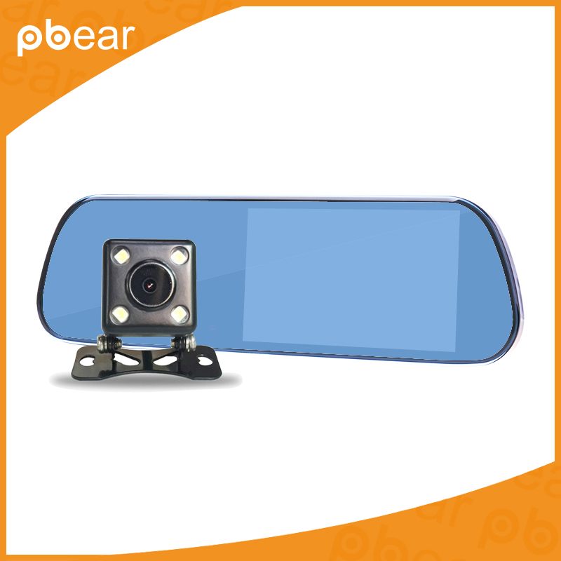 Pbear 5.0 inch HD Car DVR Rearview mirror 170 degree rear view Camera Video CCTV Night Vision with Backup Camera Recorder novatek 96655 rearview mirror camera car dvr full hd 1080p rear view mirror with dvr and camera night vision video dual recorder