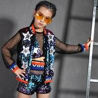 Children Sequins Jazz Dance Performance Costumes Sparkly Girl Hip Hop Mordern Dance Wear Kids Symphony Street Dance Suit