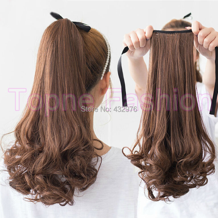 2017 New Women Ponytails 50cm Long Hair Extensions Black Brown Curly