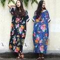 Serenamente 2017 mulheres de linho verão dress flor com borboleta do vintage impressão solto médio-longo robe plus size casual dress s18