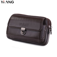 YIANG Genuine Leather Waist Packs Fanny Pack Belt Bag Phone Pouch Bags Travel Male Small 2 Styles Colors