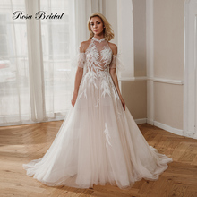 Rosabridal Wedding Dress Bridal Gown 2019 new  A Line Off Shoulder Halter Chinese collar Tulle Beading Feathers special design