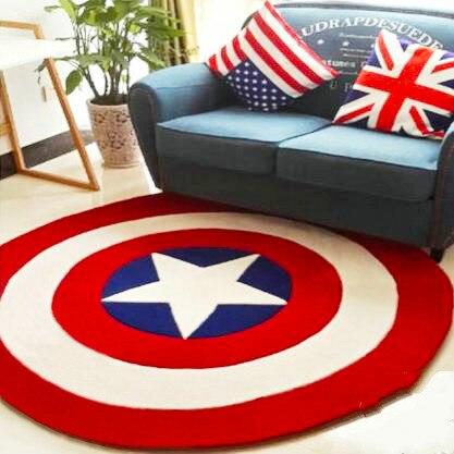 Épais acrylique Captain America bouclier tapis dessin animé enfants salon couloir tapis canapé cercle ordinateur coussin tapis pad