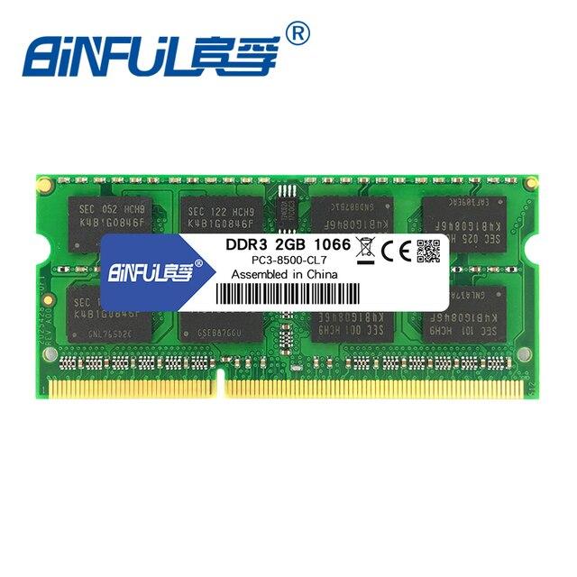 Binful Original Nova Marca 204-Pin DDR3 1066 mhz 2 GB PC3-8500S Laptop Memória RAM Notebook estoque Frete grátis