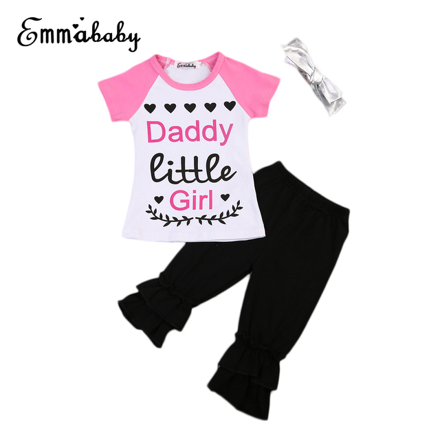 1f2701c82 2017 Summer New Children Daddy Little Girl Clothing Boutique Kids Girls  Graphic Tee T-shirt+Pants 3pcs Outfits Clothes Set 2-7T
