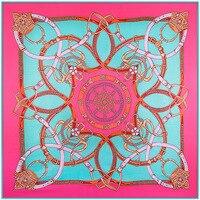 130 см * 130 см европейских брендов ремень-цепочка шить Для женщин шелковый шарф люксовый бренд 2018 осенние и зимние шарфы для женщин A108
