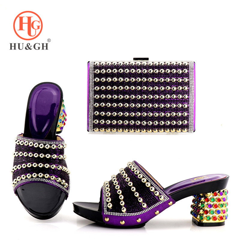 2018 Purple Color Italian Matching Shoe and Bag Set for Wedding Nigerian Women Party Shoes and Bag Set African Shoes and Bag hot artist shoes and bag set african sets italian shoes with matching bags high quality women shoes and bag to match set mm1055