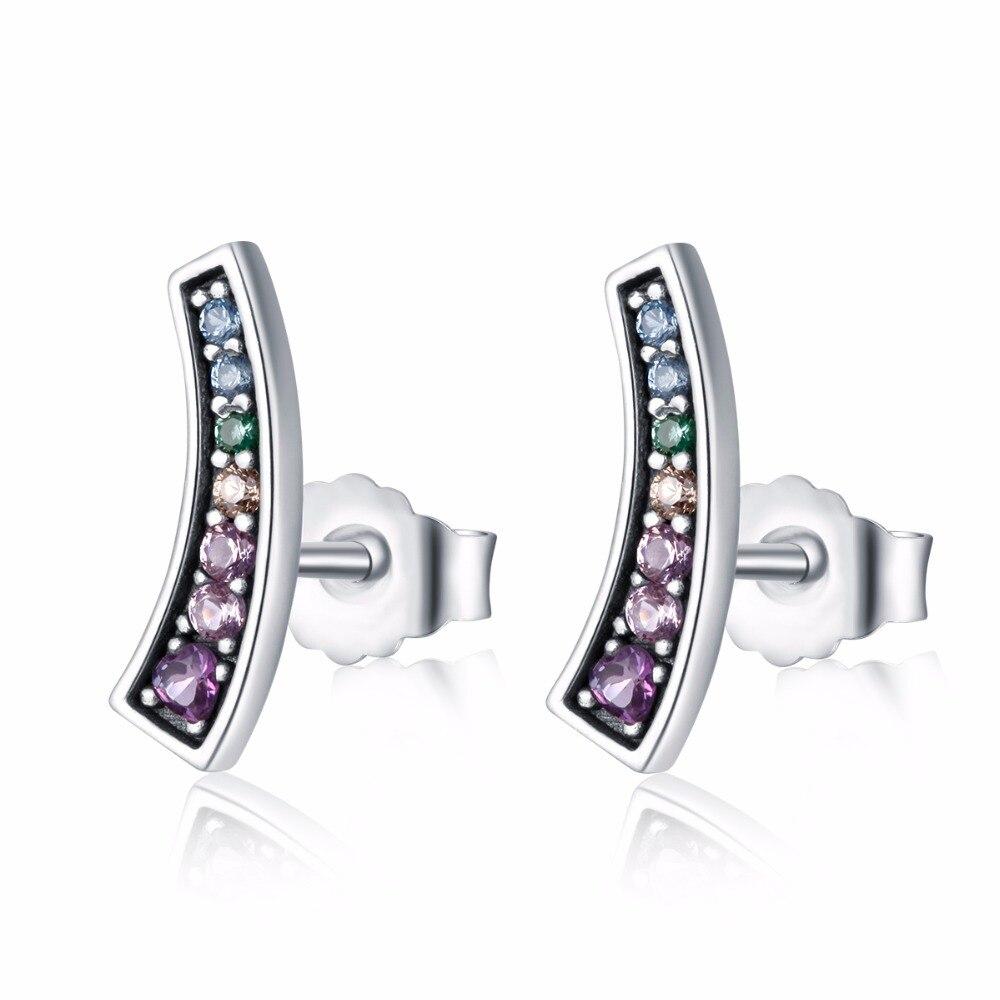 Pandulaso Rainbow Arcs of Love Stud Earrings for Women Silver 925 Jewelry 2018 New Spring Crystal Charm Earrings Girls Jewelry