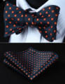 BF607VS Navy Blue Orange Floral Bowtie Men Silk Self Bow Tie handkerchief set Pocket Square Classic