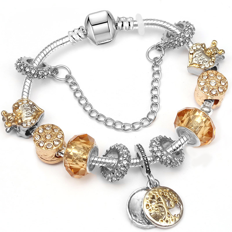 BAOPON Прямая поставка винтажные Подвески серебряного цвета браслеты для женщин DIY Кристальные бусины изящные браслеты для женщин Pulseira ювелирные изделия - Окраска металла: Type 22