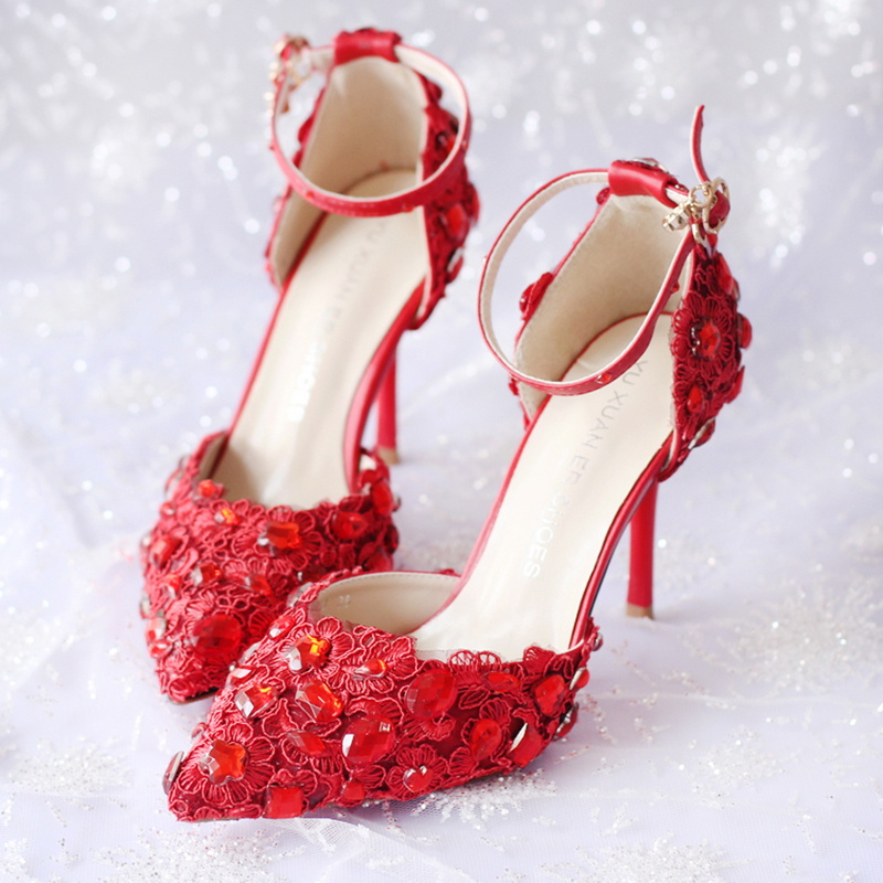 9cm High Heels Wedding Shoes Women Pumps Red Crystal Lace