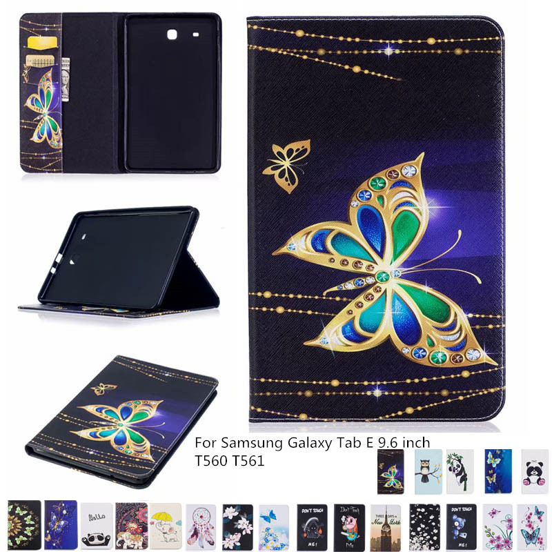 Panited PU Leather Tablet Case For Samsung Galaxy Tab E 9.6' T560 T561 Slim Folding Flip Stand Cover For Tab E SM-T560 + Film