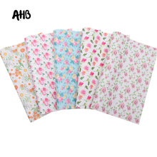 AHB Floral Printed Faux Leather Sheets Vintage Daisy Synthetic Leather DIY HairBows Garments Handmade Textile Decor Materials цена и фото