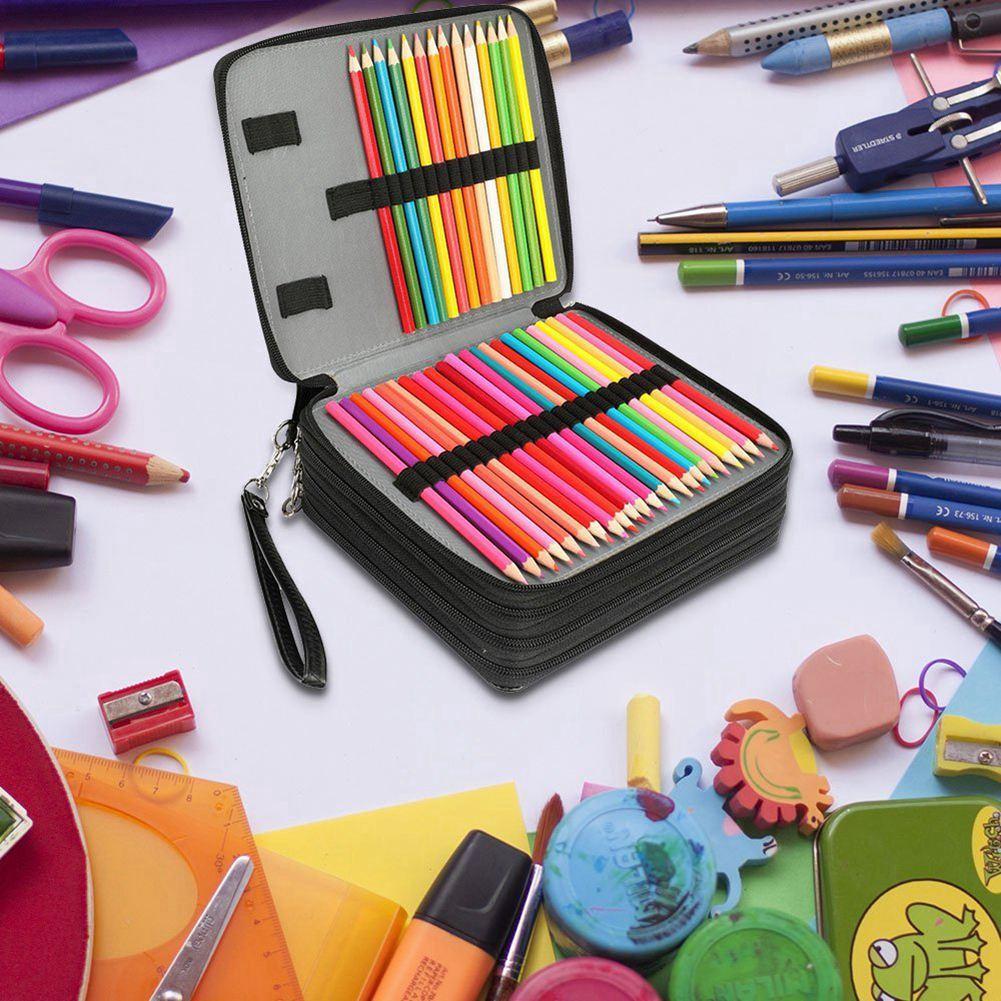 Image 4 - 168 Slots Super Large Capacity Pen Bag Zipper Strap For Prismatic Watercolor Pencils Colored Pencils Organizer School Supplies-in Pencil Bags from Office & School Supplies