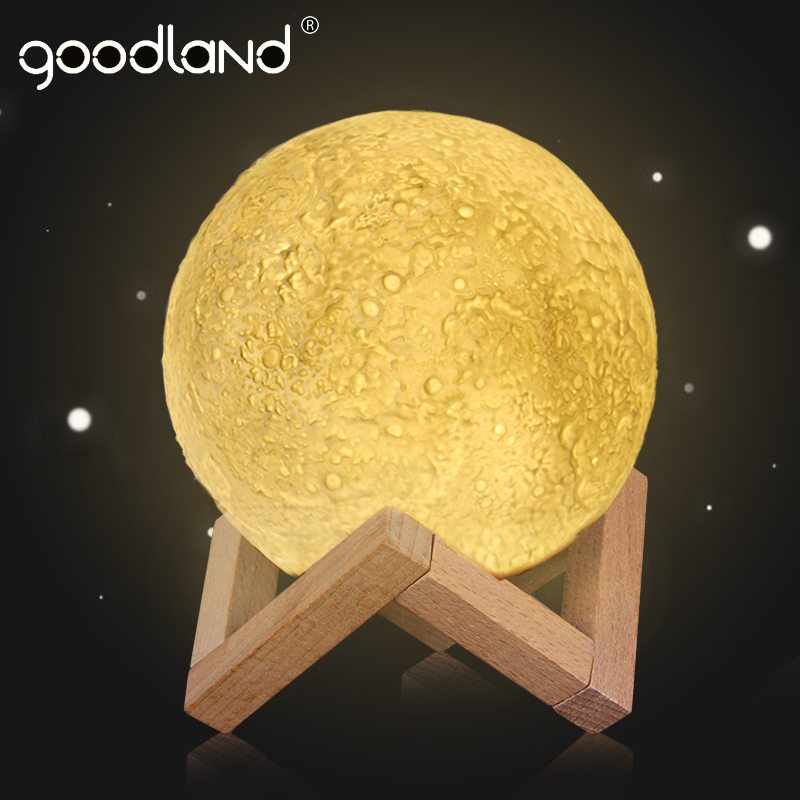 Goodland 3D Print Moon Lamp Light Rechargeable 2 Color Change Touch Switch Bookcase Desklamp Home Decor Creative LED Night Light magnetic floating levitation 3d print moon lamp led night light 2 color auto change moon light home decor creative birthday gift