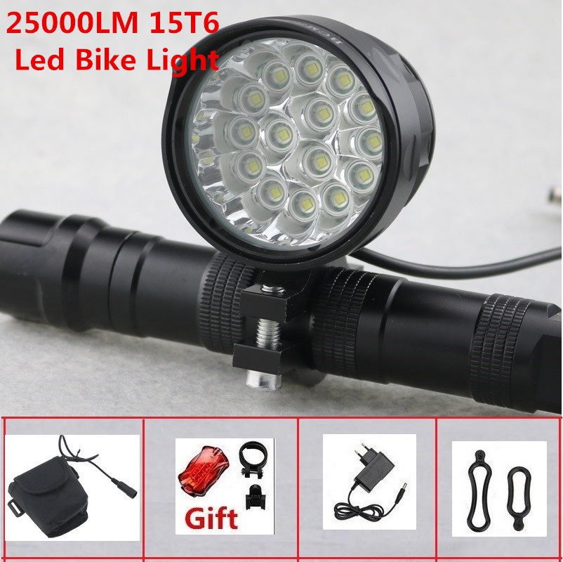 25000LM Bike Front Rear Light LED Rechargeable USB XLM T6 Bicycle Headlight Lamp