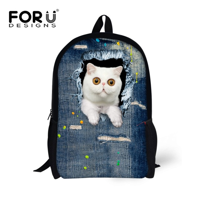 FORUDESIGNS New Style Denim Children Backbag for Children Cute Cat Head Kids Schoolbags 3D Cartoon Animal School Back pack